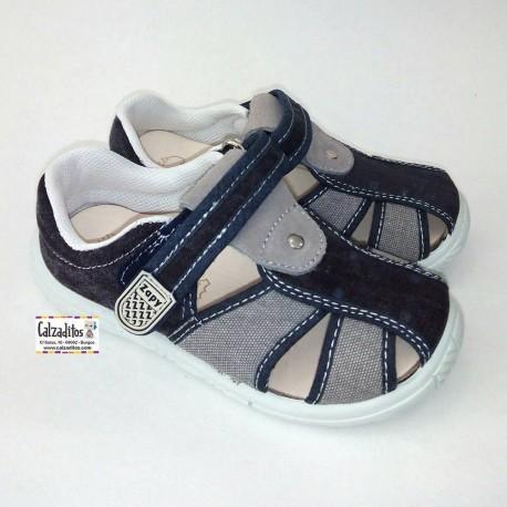Sandalias de lona jeans azul marino y gris acolchadas con velcro, de Lonettes Zapy for kids