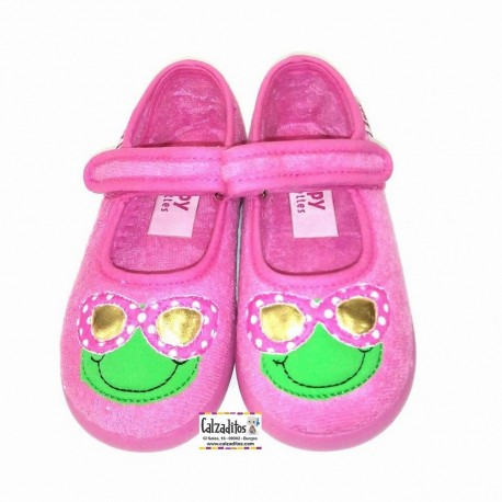 Merceditas de rizo en color rosa chicle con velcro, de Zapy lonettes