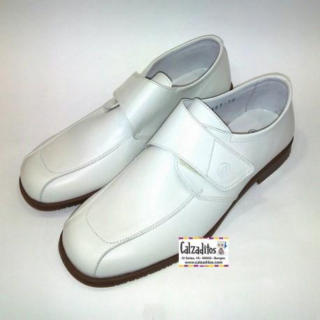 Zapatos de vestir para chico en piel beige (hielo) con velcro, de Twin Pass
