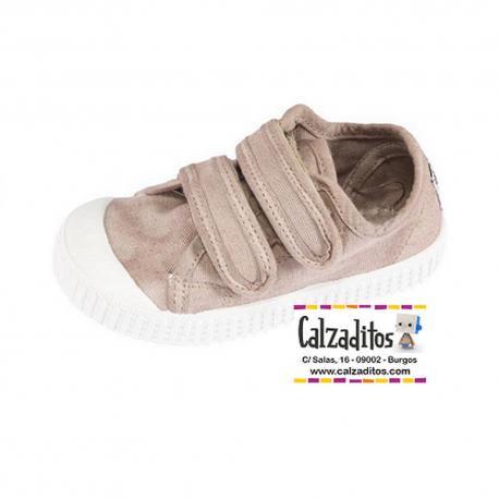 Zapatillas de lona taupé con efecto deslavado y dos velcros, de Lonettes Zapy