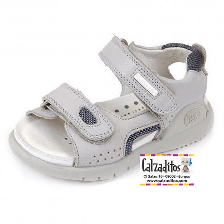 Sandalias para niño en piel gris con velcros, de Garvalín Bioevolution