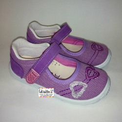 Merceditas de lona malva con velcro, de Lonettes Zapy for girls